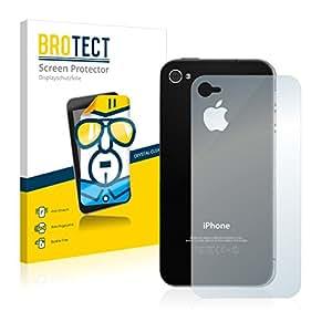 2x BROTECT Protector Pantalla Apple iPhone 4S (Trasero) Película Protectora – Transparente, Anti-Huellas
