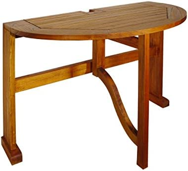 Blue Star Group Terrace Mates Caleo Half Round Table, Natural Wood Stain