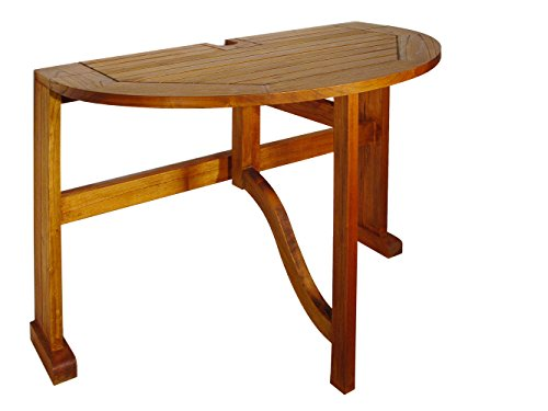 Blue Star Group Terrace Mates Caleo Half Round Table, Natural Wood Stain (Circle Expanding Table)