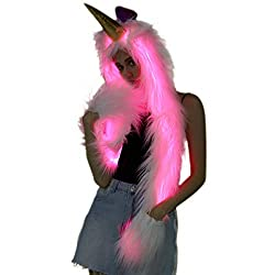 Faux Fur Animal Hoodie LED Hat with Scarf Gloves Mittens