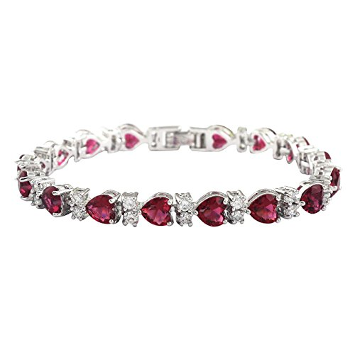 (SELOVO Bracelet Tennis Chain Rose Red Heart Cubic Zirconia Silver Tone 7 Inch)