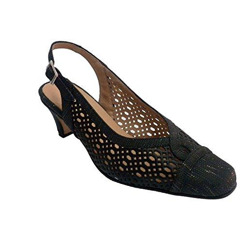 MADE IN SPAIN Zapato Rejilla de Vestir Mujer Abierto Atrás Trebede EN Negro