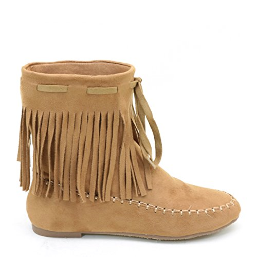 Brieten Mujeres Fringe Dress Botas Camel