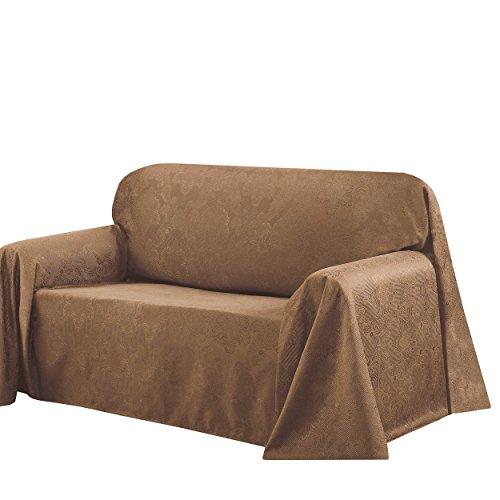 Creative Home Ideas CHI Medallion Solid Jacquard Sofa Slip Cover, 70 by 144-Inch, Mocha