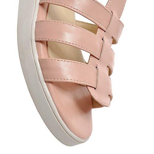 Allhqfashion Womens Zacht Materiaal Rits Open Teen Lage Hakken Effen Sleehakken-sandalen Roze