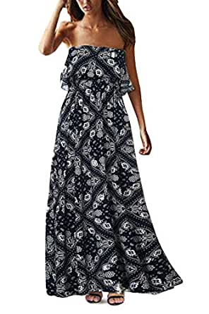 Yidarton Women Summer Blue and White Porcelain Strapless Boho Maxi Long Dress (Small, A-Navy Blue)