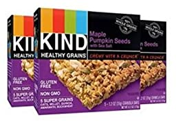 KIND Healthy Grains Maple Pumpkin Seeds with Sea Salt, 5 Count, Pack of 8 Boxes (Total of 40 Bars)