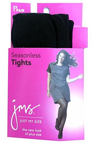 Just My Size Women's Seasonless Tight Panty Hose, Black, 2X