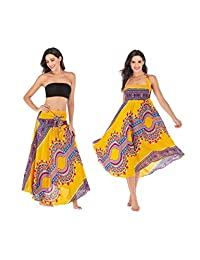 AllaSim Women's 2 in 1 Pleated Boho Maxi Skirt Dress