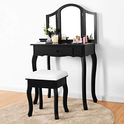 Classical Vanity (Giantex Bathroom Vanity Makeup Table Set w/Tri-Folding Mirror & Cushioned Stool Dressing Table (Black))