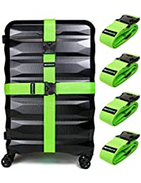 4-Pack Luggage Straps | Belts to Keep Your Suitcase Secure While Traveling, Premium Accessory for Travel Bag Closure.