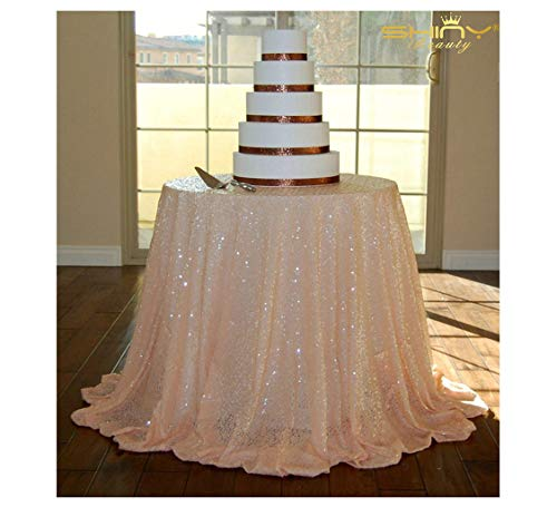 120Inch Round-Peach-Sequin Tablecloth Sequin Table Linens/Overlay/Cover for Wedding/Parety (Peach) ()