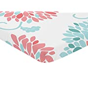 Sweet Jojo Designs Turquoise Blue and Coral Floral Baby Fitted Mini Portable Crib Sheet for Emma Collection
