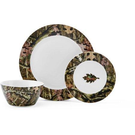 Mossy Oak Break-Up Infinity 12-Piece Dinnerware Set | Casual 12-piece Porcelain Dinnerware Set