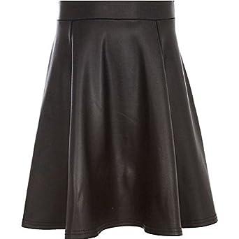 1978479c78 River Island Girls Black Wet Look Skater Skirt: Amazon.co.uk: Clothing