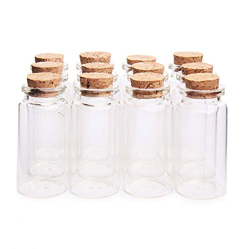 "Danmu 12Pcs 25ml 1.18"" x 2.36"" Mini Glass Bottles, Mini Vials, Mini Bottles with Wood Cork Stoppers, Tiny Vials, Wish Bottles, Message Bottles for Wedding Favors, Baby Shower Favors, DIY Craft"