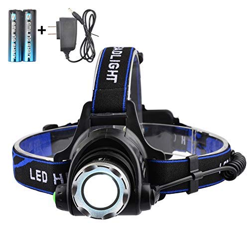 SmilingShark Super Bright Headlamp High lumens 4 Modes Adjustable Waterproof Zoomable LED Headlight with Rechargeable Batteries for Camping Hiking Fishing Reading