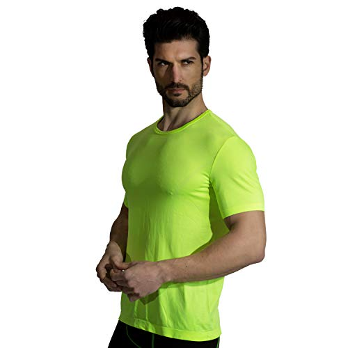 (+MD Mens Cool Dry Short Sleeve T-Shirts Moisture Wicking Athletic Graphic T Shirts Crew Neck Workout Shirts Green Large)