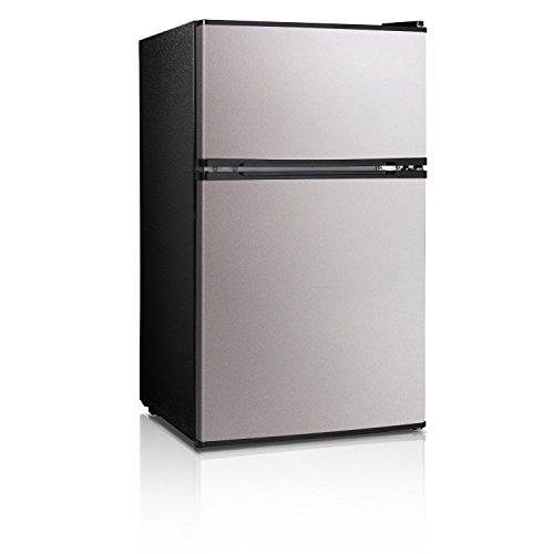Compact Refrigerator Freezer Double Doors Reversible Portable Lightweight Energy Saver Dorm Office