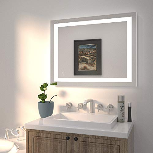 HAUSCHEN 36x28 inch LED Bathroom Wall Mounted Mirror with High Lumen+CRI 95 Adjustable Color Temperature+Anti Fog+Dimmer Function+IP44 Waterproof+Vertical & Horizontal