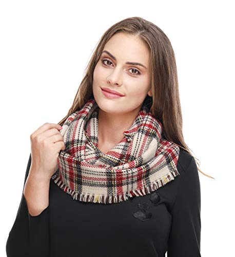 Lucky Leaf Women Winter Checked Pattern Cashmere Feel Warm