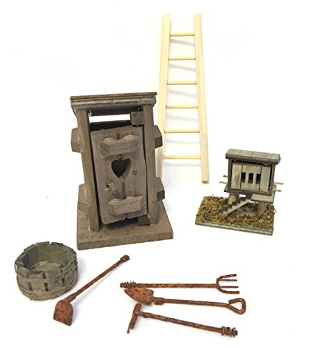 Miniature Garden Farm Accessory Set - DIY Kit for Fairy Garden includes Wood Ladder, Outhouse, Chicken Coop, Wash Tub and 4 Piece Rusty Garden Tool -