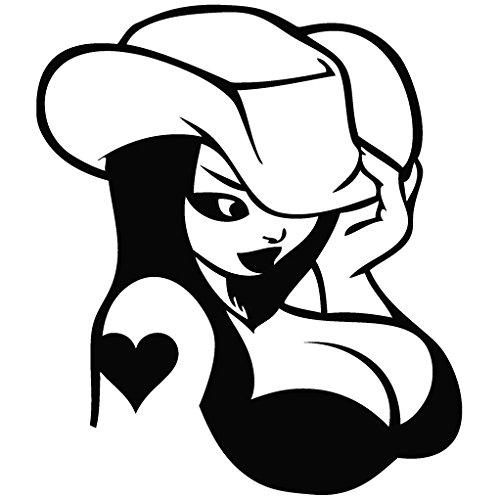 Cowgirl Heart Tattoo - Cartoon Decal [15cm Black] Vinyl Removable Decorative Sticker for Wall, Car, Ipad, Macbook, Laptop, Bike, Helmet, Appliance, Instrument, Motorcycle, (Cartoon Cowgirl)