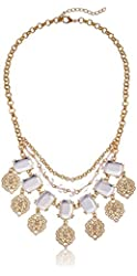 "Multi-Layered Gold-Tone Chain with Filigree and Stone Accents Statement Necklace, 20"" + 2"" Extender"