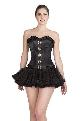 追放する誠実コンサルタントBlack Satin Lace Goth Retro Burlesque Costume Waist Training Overbust Corset Top