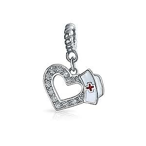Enfermera Hat cuelgan en forma de corazón el encanto del cordón de plata Sterling .925