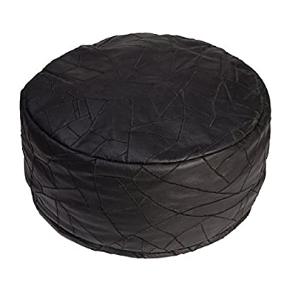 Second May Round Leather Bean Bag - Large Handcrafted Upholstery Leather Hand Embroidery Patch Work, Furniture - BLACK
