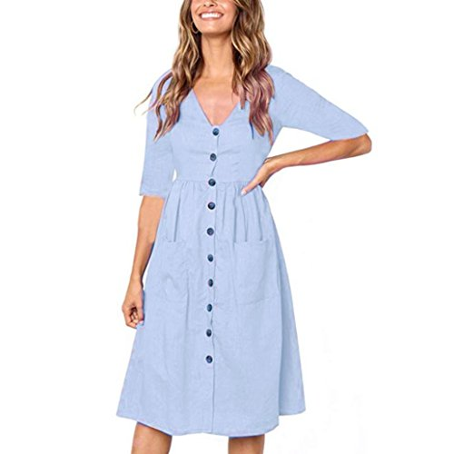 Printemps Poches Bouton Plage Casual Dress Moiti LOVELYOU Simple Femme Cou Bleu Mini V Sexy Dames Cocktail Boho Automne Chic Couleur Pure Robe lgant T Mode Party Manches Chemise RZt6xZCnW