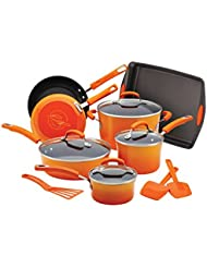 Rachael Ray Porcelain Nonstick 14-Piece Cookware Set with Bakeware and Tools, Orange Gradient