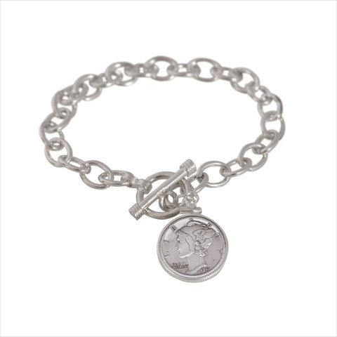 American Coin Treasures 11896 Sterling Silver Mercury Dime Toggle Bracelet (Silver Dime Mercury Sterling)