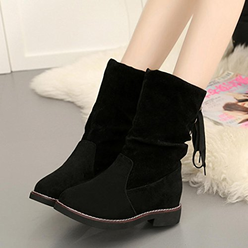 Sikye Ladies Lace Up Boots Women Winter Warm Low Wedge Mid Ankle Boots Shoes Flat Black GmWl3