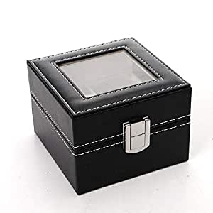 Pu Leather watches Box For Double watches-Black
