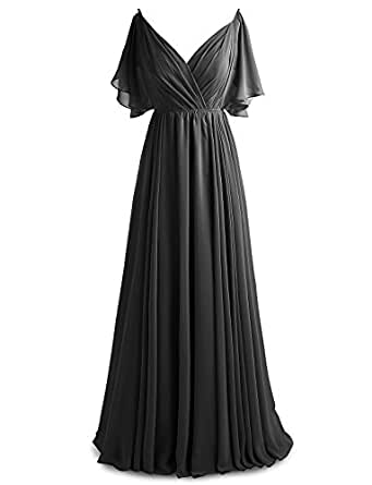 Gardenwed Women's V-Neck Chiffon Bridesmaid Dress Long