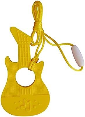 Amarillo Mordedor de Silicona con Forma de Guitarra Chupete para Dentici/ón Masticable Sin BPA con Cord/ón y Broche de Separaci/ón 7 Colores
