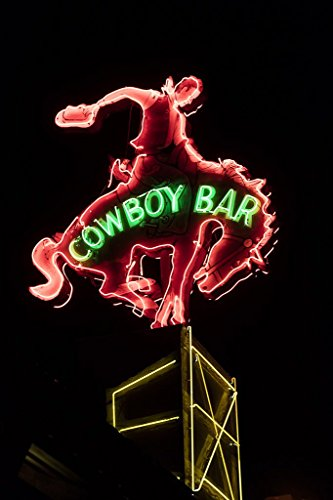 Million Dollar Cowboy Bar - Jackson Hole, Wyoming Photo - Neon sign of the Million Dollar Cowboy Bar in Jackson Hole, Wyoming. - Carol Highsmith