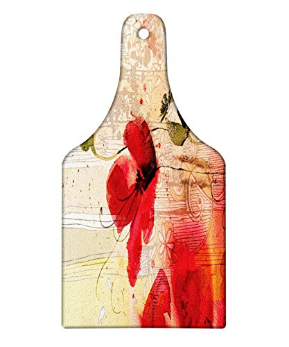 (Ambesonne Flower Cutting Board, Red Poppy Flower Paint Brush Effect Beige Floral Fabric Digital Art Print, Decorative Tempered Glass Cutting and Serving Board, Wine Bottle Shape, Red Peach and Beige)