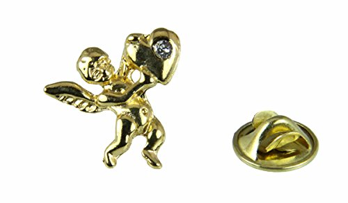 6030446 April Birth Month Angel & Heart Lapel Pin Brooch Tie Tack Cupid Love Affection (April Birthstone Angel Pin)