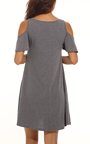 Dress Tunic Swing with T Loose Top Cold Women's QIXING Dark A Gray Shirt Shoulder Summer Pockets 07 w1pAvxYnqI