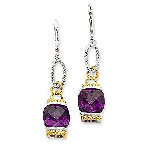 Sterling Silver Vermeil Purple CZ Earrings