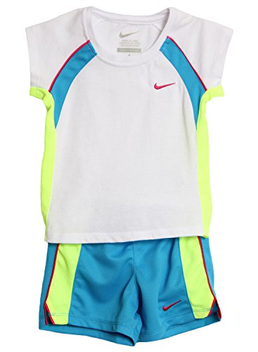 Nike Little Girls 2 Piece White Blue Athletic Shorts Set (4, White/Volt/Blue)
