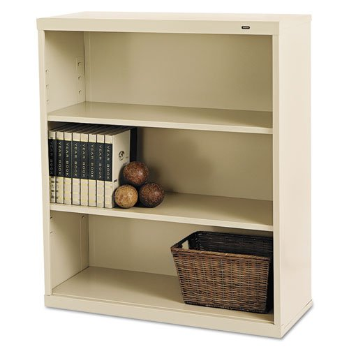 3 Shelf Stacking Bookcase - Tennsco B42PY 34-1/2 by 13-1/2 by 40-Inch Metal Bookcase with 3 Shelves, Putty