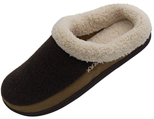 Vonmay Men's Wool Plush Fleece Lined Slip On Memory Foam Clog House Slippers Indoor / Outdoor (13-14 D(M) US, Coffee/Light - Fleece Wool Lined