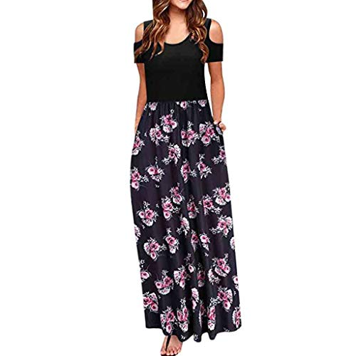 MURTIAL Women' Long Dress Cold Shoulder Poet Floral Print Elegant Maxi Short Sleeve Casual Dress Party Dress(Pink2,XL)