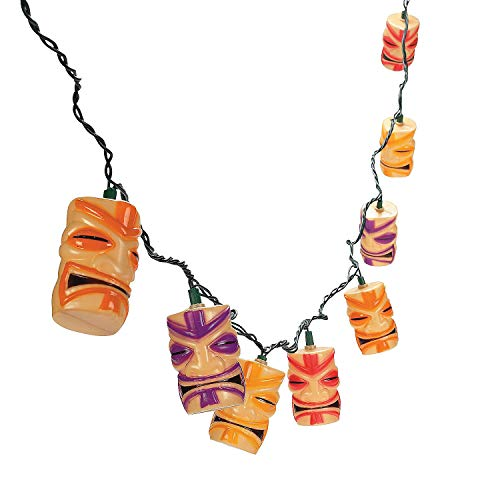 Fun Express Tiki Head Light String Set Luau Party Patio Lights