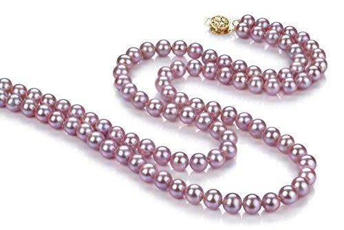 Lavande 6-6.5mm AA-qualité perles d'eau douce -Collier de perles