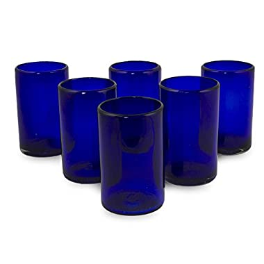 NOVICA Artisan Crafted Cobalt Blue Hand Blown Recycled Glass Cocktail Glasses 'Solid Blue' (set of 6)